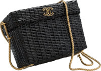 "Chanel Black Wicker Box Evening Bag Excellent Condition 6"" Width x 4.5"" Height x 3"" Depth"