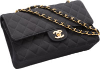 "Chanel Black Quilted Grosgrain Medium Double Flap Bag Very Good to Excellent Condition 10"" Width x 6"" Height..."