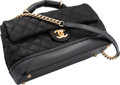 """Luxury Accessories:Bags, Chanel Black Quilted Caviar & Lambskin Leather Flap Bag. Very Good to Excellent Condition. 10"""" Width x 6"""" Height x 4.5..."""