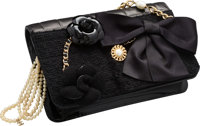 """Chanel Black Lambskin, Patent Leather, Wool & Tweed Flap Bag Very Good Condition 9"""" Width x 6"""" He"""