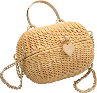 "Chanel Natural Wicker Heart Lock Evening Bag Excellent Condition 7"" Width x 5"" Height x 3.5"" Dept"