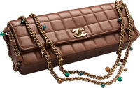 """Chanel Brown Square Quilted Lambskin Leather East West Flap Bag Very Good Condition 10"""" Width x 4"""" Height x..."""