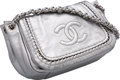 """Luxury Accessories:Bags, Chanel Metallic Silver Leather Shoulder Bag. Excellent Condition. 10"""" Width x 7.5"""" Height x 5"""" Depth. ..."""