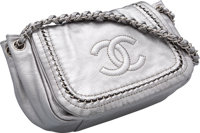 "Chanel Metallic Silver Leather Shoulder Bag Excellent Condition 10"" Width x 7.5"" Height x 5"" Depth"