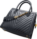 "Luxury Accessories:Bags, Chanel Navy Blue Chevron Quilted Caviar Leather Tote Bag. Good to Very Good Condition. 13"" Width x 11"" Height x 4"" Depth..."