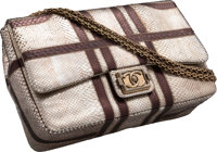 "Chanel Metallic Silver & Brown Python Flap Bag Very Good to Excellent Condition 12"" Width x 8"" He"