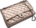 """Luxury Accessories:Bags, Chanel Metallic Pewter Quilted Distressed Lambskin Leather MediumReissue Flap Bag. Very Good . 11"""" Width x 6.5""""Heigh..."""