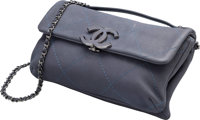 "Chanel Gray Quilted Leather Flap Bag Very Good to Excellent Condition 9"" Width x 5.5"" Height x 2"" Depth&a..."