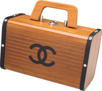 """Chanel Natural Wood Top Handle Bag Very Good to Excellent Condition 9.5"""" Width x 6"""" Height x 5"""" D"""
