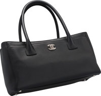 """Chanel Black Leather Cerf Tote Bag Excellent Condition 12"""" Width x 7"""" Height x 5.5"""" Depth"""