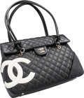"Luxury Accessories:Bags, Chanel Black Quilted Lambskin Leather Cambon Ligne Tote Bag.Very Good to Excellent Condition. 13"" Width x 10"" Height..."