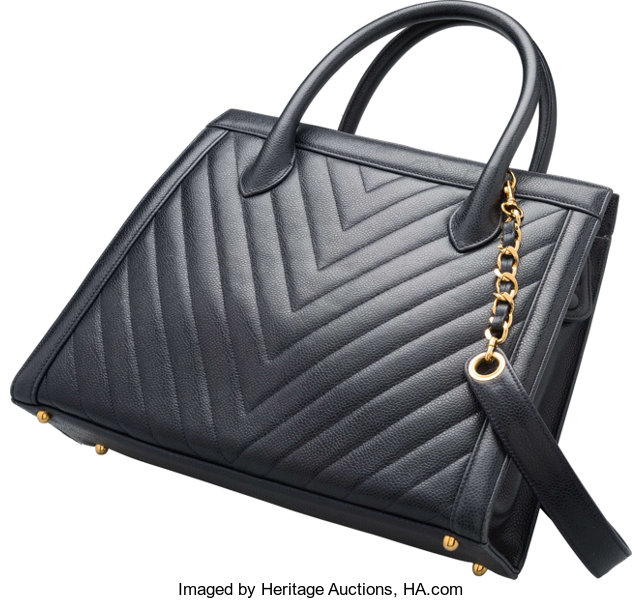 Chanel Navy Blue Chevron Quilted Caviar Leather Tote Bag. Good to ... 17bf6258e4df3