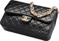 "Luxury Accessories:Bags, Chanel Black Quilted Lambskin Leather Flap Bag. Very Good toExcellent Condition. 9.5"" Width x 6"" Height x 2.5"" Depth. ..."