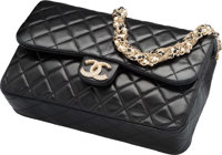 """Chanel Black Quilted Lambskin Leather Flap Bag Very Good to Excellent Condition 9.5"""" Width x 6"""" Height x 2.5..."""