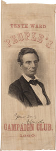 Political:Ribbons & Badges, Abraham Lincoln: One of the Very Best 1860 Campaign Ribbons....