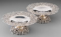 Silver Holloware, American:Tazze, A Pair of Howard & Co. Silver Reticulated Tazze, New York,early 20th century. Marks: STERLING, HOWARD & CO, NEW YORK,862... (Total: 2 Items)