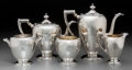 Silver Holloware, American, A Five-Piece Dominick & Haff Silver Tea and Coffee Service, NewYork, circa 1931. Marks: (diamond-circle-DH-rectangle), ST...(Total: 5 Items)