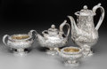 Silver & Vertu:Hollowware, A Four-Piece Thomas Cox Savory Silver Tea and Coffee Service, London, 1829. Marks: (lion passant), (leopard's head), o, ... (Total: 4 Items)