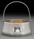 Silver Holloware, American:Bowls, A Wood & Hughes Silver Sugar Basket with Woven Texture, NewYork, circa 1880. Marks: W&H, STERLING, 113A. 5-1/4inches h...