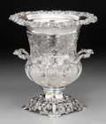 Silver Holloware, British:Holloware, A William Comyns Silver and Cut-Glass Campana-Form Vase, London,1901. Marks: (lion passant), (leopard), f, W.C. 8-3/4 i...