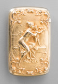 Silver Smalls:Match Safes, A Gorham 14K Gold Match Safe with Venus & Cupid Motif,Providence, Rhode Island, circa 1902. Marks: 14K,(lion-anchor), ...
