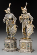 Silver Holloware, Continental:Holloware, A Pair of German Silver and Hardstone-Mounted Knight Figures, early20th century. Marks: STERLING, 925. 11-3/4 inches hi...(Total: 2 Items)