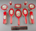 Silver Holloware, French:Holloware, An Eleven-Piece Cased French Enameled Silver Lady's Vanity Set Retailed by Cartier, circa 1910. Marks: (Minerva), (JM-blosso... (Total: 12 Items)