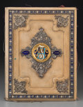 Decorative Arts, Continental:Other , A Viennese Enameled, Partial Gilt, and Silver-Plated Leather FolioCover, circa 1900. 16 inches high x 12-1/4 inches wide (4...