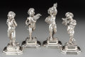 Silver Holloware, Continental:Holloware, Four Caputo Francesco Italian Silver Putti Figures Depicting theFour Seasons, Milan, 20th century. Marks: 800, (star-sh...