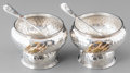 Silver Holloware, American:Open Salts, A Pair of Tiffany & Co. Aesthetic Movement Silver and MixedMetal Open Salt Cellars and Spoons with Oceanic Motifs, New York...(Total: 2 Items)