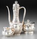 Silver Holloware, American:Coffee Pots, A Fine Three-Piece Tiffany & Co. Aesthetic Movement SilverDemitasse Set with Applied Marine Motifs, New York, circa1902-19... (Total: 3 Items)