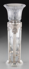 Silver Holloware, American:Vases, A Dominick & Haff Silver and Cut-Glass Trumpet Vase, New York,early 20th century. Marks: STERLING, (logotype), 2208,... (Total: 2 Items)