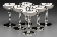 Six William Spratling Mexican Silver Champagne Coupes, Taxco, circa 1956-1964 Marks: WILLIAM SPRATLING, TAXCO