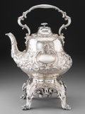 Silver Holloware, British:Holloware, An Edward & John Barnard Victorian Silver Hot Water Kettle onStand, London, 1858. Marks: (lion passant), (leopard), (duty m...
