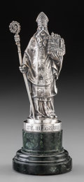 Silver Holloware, Continental:Holloware, A Continental Silver and Marble Figure of Saint Blasius (Blaise),early 20th century. Marks: A. LINARDOVICH, 800, OCK 800...
