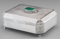 Silver Holloware, Continental:Holloware, A Ristori Renato Italian Silver, Ruby and Jade-Mounted Table Box,Firenze, mid-20th century. Marks: 800, (117-FI). 2-1/2...