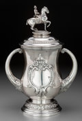 Silver Holloware, American:Cups, A Large Mermod Jaccard & Co. Two-Handled Equestrian CoveredTrophy Cup, St. Louis, Missouri, late 19th-early 20th century. M...