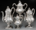 Silver Holloware, American:Coin Silver, A Four-Piece William Forbes Coin Silver Tea and Coffee Set forBall, Black & Co., New York, circa 1855. Marks: W.F, BALLB... (Total: 4 Items)