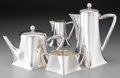 Silver Holloware, Continental:Holloware, A Four-Piece Koch & Bergfeld Transitional Silver Tea and CoffeeSet, Bremen, Germany , circa 1910-1920. Marks: (crescent), (...(Total: 4 Items)