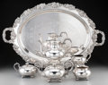 Silver Holloware, American:Tea Sets, A Five-Piece Reed & Barton Silver-Plated Tea and Coffee Servicewith Associated Silver-Plated Tray, Taunton, Massachusetts. ...(Total: 6 Items)