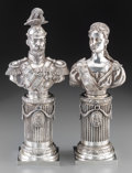 Silver Holloware, Continental:Holloware, A Pair of Morozov Silver Busts of Tsar Nicholas II & TsarinaAlexandra Feodorovna, St. Petersburg, Russia, circa 1896. Marks...(Total: 2 Items)