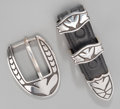 Silver Smalls, A Southwest Silver, Niello, and Leather Buckle Set, circa 1991.Marks: Chocon, STERLING, be 12-91. 2-3/4 inches long (7....(Total: 2 Items)