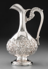 An Italian Silver Wine Ewer, Milan, 20th century Marks: 925, MADE IN ITALY, (double-stamped mark) 12