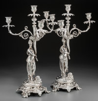 A Pair of Continental Neoclassical Silver Figural Four-Light Candelabra, 20th century Marks: STERLING, CZ</