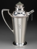 Silver Holloware, American, A Lebkuecher Silver and Spinach Jade-Mounted Cocktail Pitcher, Newark, New Jersey, circa 1920. Marks: (crescent-L) STERLIN...