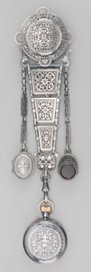 Silver Smalls:Other , A Cased Otterbourg & Cie Silver Chatelaine with Pocket Watch, Paris, circa 1880. Marks: (animal head), (effaced mark). 6-3/4...