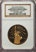 20th Century Tokens and Medals, 1976 Gold Bicentennial Medal MS67 Ultra Cameo NGC....