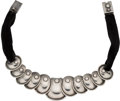 Silver Smalls, A Hector Aguilar Mexican Silver Armadillo Necklace withOriginal Black Velvet Ribbon, Taxco, circa 1943-1948. Ma...