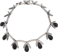 An Antonio Pineda Mexican Silver and Onyx Necklace, Taxco, circa 1950 Marks: ANTONIO (crown), HECHO
