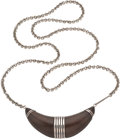 Silver Smalls, A William Spratling Mexican Silver Mounted Rosewood CrescentPendant Brooch with Chain, Taxco, circa 1940-1946. ...